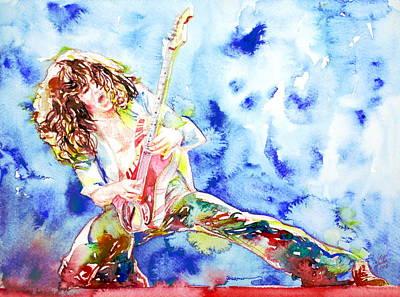 Van Halen Painting - Eddie Van Halen Playing The Guitar.1 Watercolor Portrait by Fabrizio Cassetta
