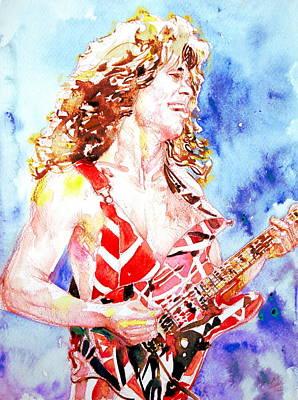 Van Halen Painting - Eddie Van Halen Playing The Guitar.2 Watercolor Portrait by Fabrizio Cassetta