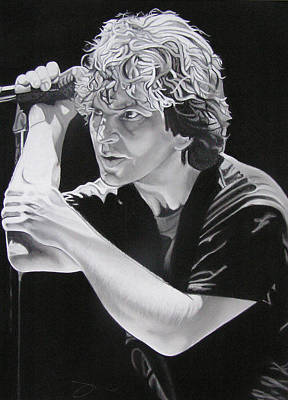 Eddie Vedder Black And White Print by Joshua Morton