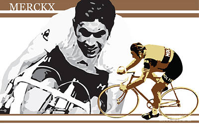 Cycling Digital Art - Eddy Merckx by Sassan Filsoof