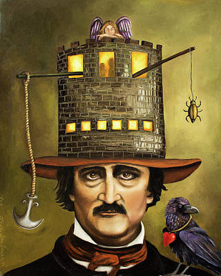 Brick Buildings Painting - Edgar Allan Poe by Leah Saulnier The Painting Maniac
