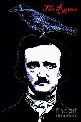 Haunted Digital Art - Edgar Allan Poe The Raven 20140914poster by Wingsdomain Art and Photography