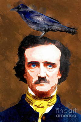 Haunted Digital Art - Edgar Allan Poe The Raven 20140914wc by Wingsdomain Art and Photography