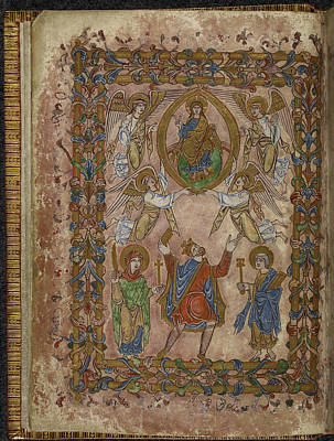 Edgar Offers Charter To Christ Print by British Library