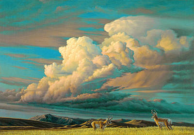 Sky Scape Painting - Edge Of The Prairie- Pronghorn by Paul Krapf