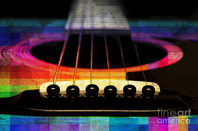 Music Photograph - Edgy Abstract Eclectic Guitar 24 by Andee Design