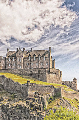 Tourism Digital Art - Edinburgh Castle Painting by Antony McAulay