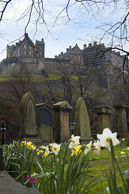 Edinburgh Graveyard And Castle Print by Mike McGlothlen