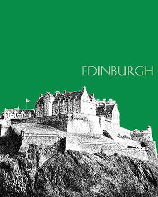 Pen Digital Art - Edinburgh Skyline Edinburgh Castle - Forest Green by DB Artist