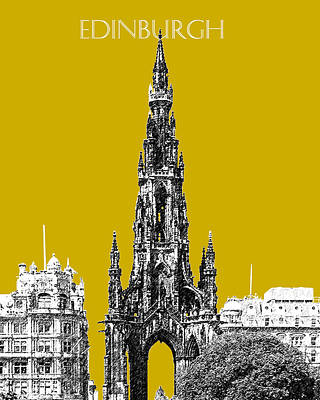 Pen Digital Art - Edinburgh Skyline Scott Monument - Gold by DB Artist