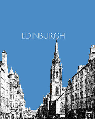 Pen Digital Art - Edinburgh Skyline The Royal Mile - Slate by DB Artist