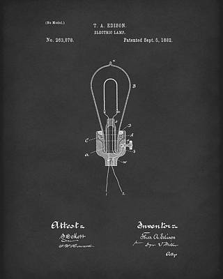 Electricity Drawing - Edison Electric Lamp 1882 Patent Art Black by Prior Art Design