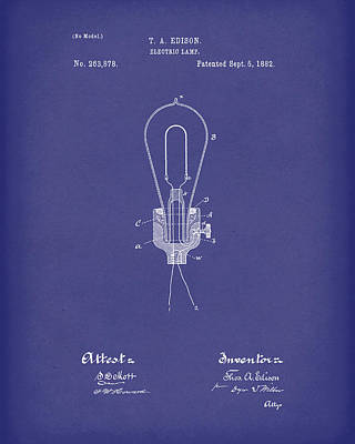 Electricity Drawing - Edison Electric Lamp 1882 Patent Art Blue by Prior Art Design