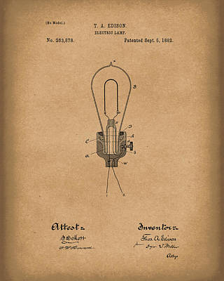 Electricity Drawing - Edison Electric Lamp 1882 Patent Art Brown by Prior Art Design
