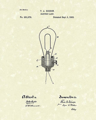 Electricity Drawing - Edison Electric Lamp 1882 Patent Art by Prior Art Design