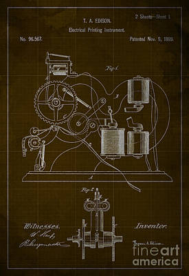 Edison Electrical Printing Instrument Blueprint Print by Pablo Franchi