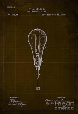 Edison Incandescent Lamp Patent Blueprint Print by Pablo Franchi