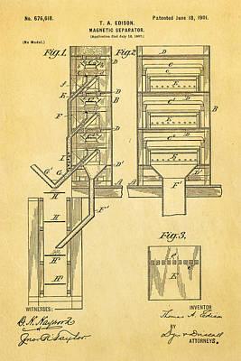 Thomas Alva Edison Photograph - Edison Magnetic Separator Patent Art 1901 by Ian Monk