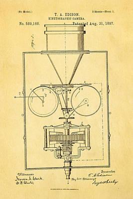 Thomas Alva Edison Photograph - Edison Motion Picture Camera Patent Art 1897 by Ian Monk