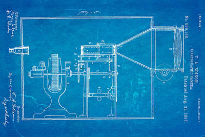 Thomas Alva Edison Photograph - Edison Motion Picture Camera Patent Art 2 1897 Blueprint by Ian Monk