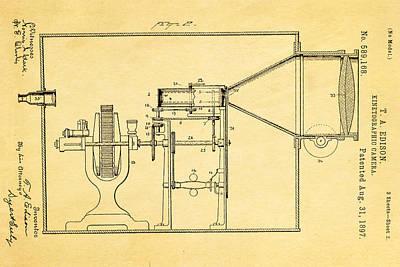 Thomas Alva Edison Photograph - Edison Motion Picture Camera Patent Art 2 1897 by Ian Monk