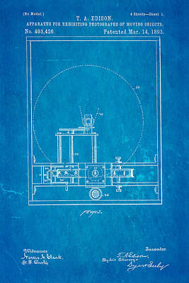 Thomas Alva Edison Photograph - Edison Motion Picture Patent Art 1893 Blueprint by Ian Monk