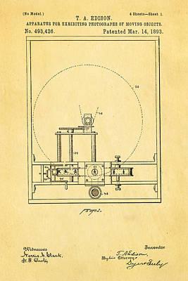 Thomas Alva Edison Photograph - Edison Motion Picture Patent Art 1893 by Ian Monk