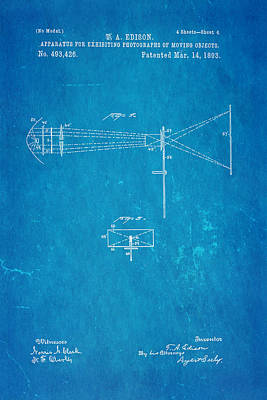 Thomas Alva Edison Photograph - Edison Motion Picture Patent Art 2 1893 Blueprint by Ian Monk