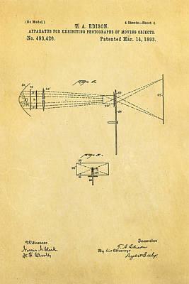 Thomas Alva Edison Photograph - Edison Motion Picture Patent Art 2 1893 by Ian Monk