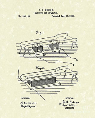Edison Ore Separator 1882 Patent Art Print by Prior Art Design