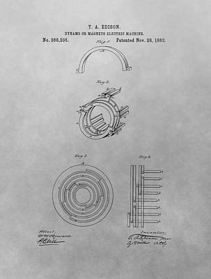 Edison's Electric Generator Patent Drawing Print by Dan Sproul
