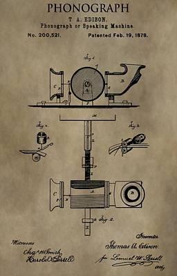 Edison's Phonograph Patent Print by Dan Sproul