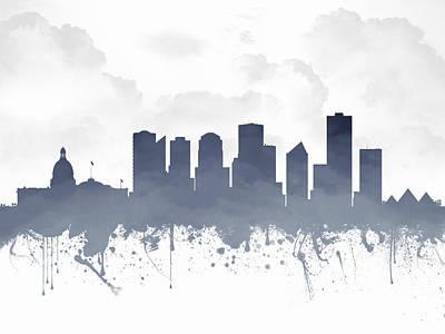 Edmonton Alberta Skyline - Blue 03 Print by Aged Pixel
