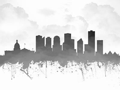 Edmonton Alberta Skyline - Gray 03 Print by Aged Pixel