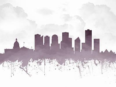Edmonton Alberta Skyline - Purple 03 Print by Aged Pixel