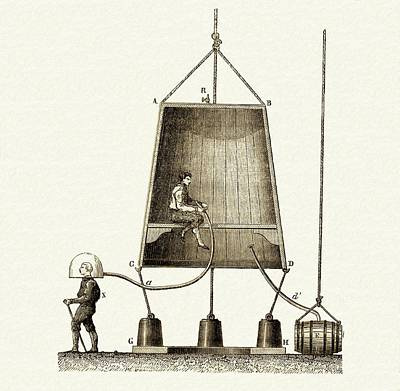 Edmund Halley's Diving Bell Print by Sheila Terry