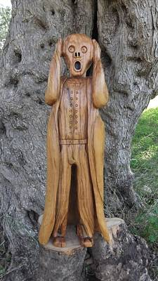 Olive Wood Sculpture Sculpture - Edvard  The Scream by Eric Kempson