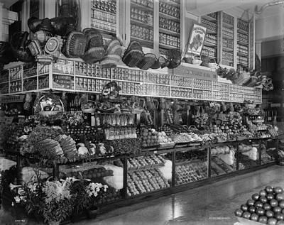 Grocery Photograph - Edw. Neumann, Broadway Market, Detroit, Michigan, C.1905-15 Bw Photo by Detroit Publishing Co.
