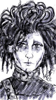 Johnny Depp Drawing - Edward Scissorhands Phone Sketch by Alessandro Della Pietra