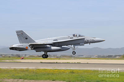 Ef-18m Hornet From The Spanish Air Print by Riccardo Niccoli