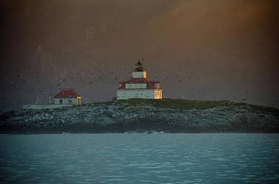 Sunset Photograph - Egg Rock Island Lighthouse by Sebastian Musial