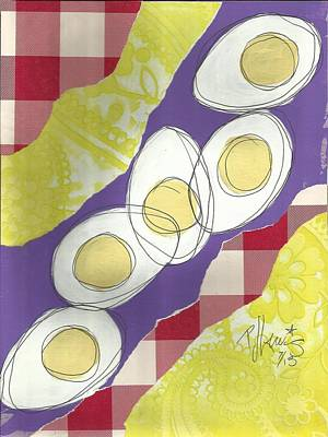 Egg Mixed Media - Eggs by P J Lewis