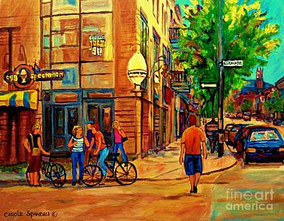 Corner Cafe Painting - Eggspectation Cafe Resto Bar On Esplanade Montreal Restaurant City Scene by Carole Spandau