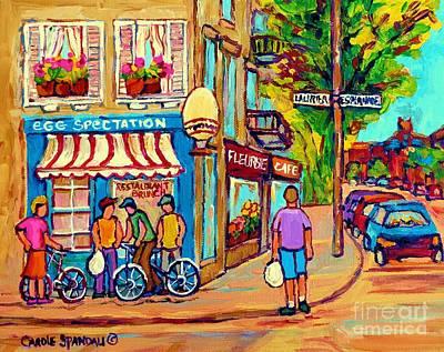Brunch Painting - Eggspectations Restaurant Montreal Paintings Rue Laurier City Scenes Carole Spandau by Carole Spandau