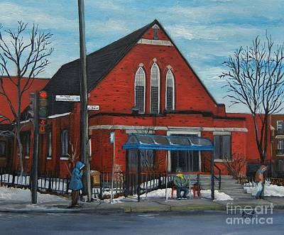 Quebec Art Painting - Eglise Baptiste Evangelique De La Grace De Verdun  by Reb Frost