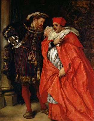 Ego Et Rex Meus, Henry Viii 1491-1547 And Cardinal Wolsey C.1475-1530 Oil On Canvas Print by Sir John Gilbert