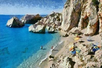Paint Painting - Egremni Beach In Lefkada Island by George Atsametakis