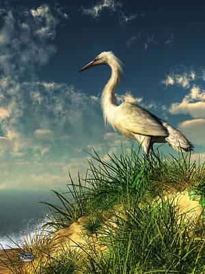Stork Digital Art - Egret In The Dunes by Daniel Eskridge