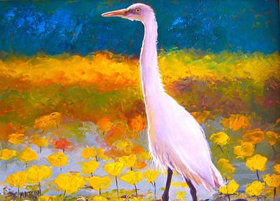 Egret Painting - Egret Water Bird by Jan Matson