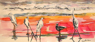 Painting - Egrets And Sea Gull At Sunrise 11-5-14 by Julianne Felton